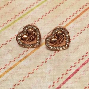 Micheal Kors rose gold pave heart earrings